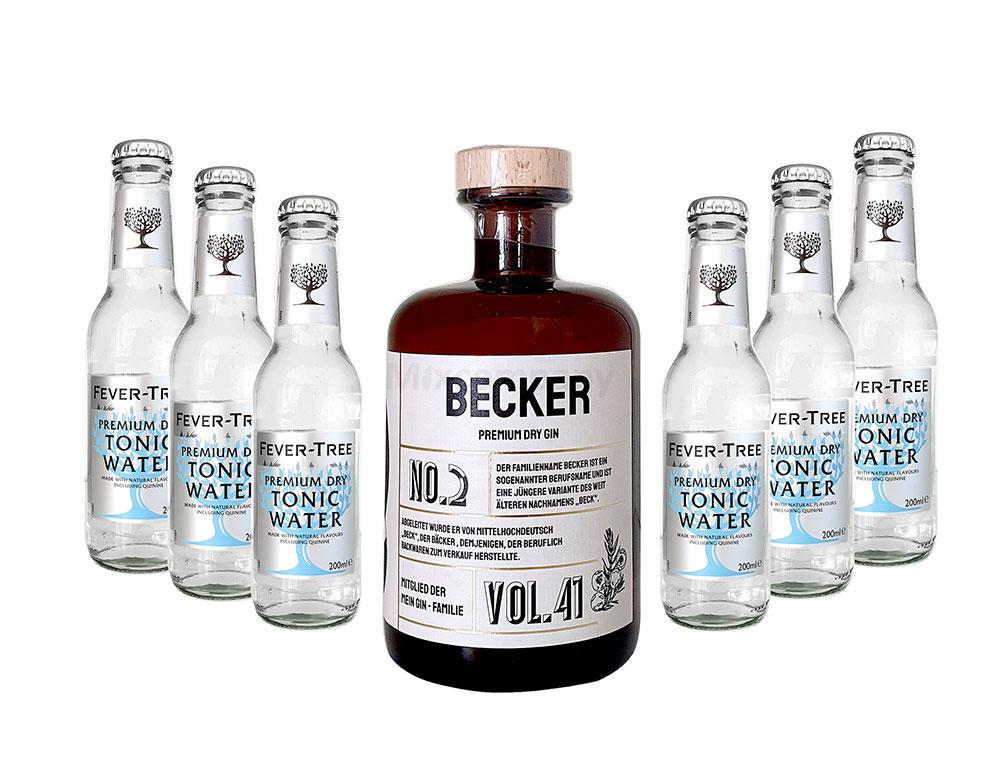 Mein Gin - Becker Premium Dry Gin 0,5l (41% Vol) - Becker s Gin No.2 + 6x Fever-Tree Premium Dry Tonic Water 200ml inkl. Pfand MEHRWEG -[Enthält Sulfite]