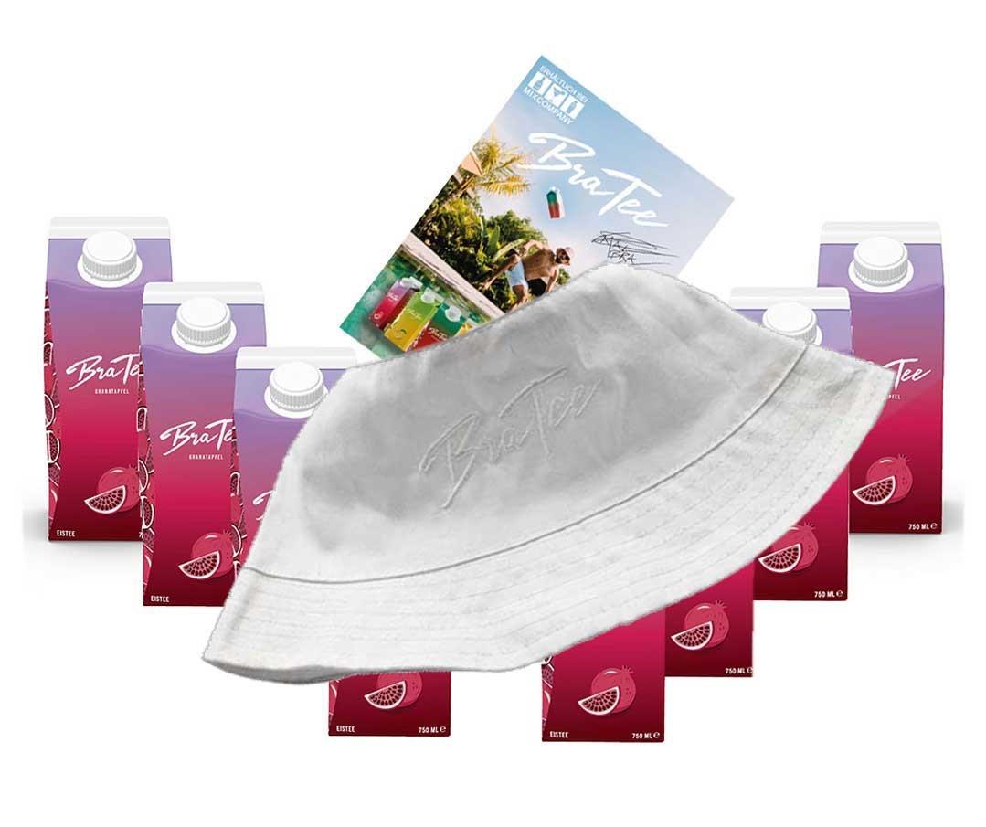 Capital BraTee 8er Set Eistee Granatapfel Pomegranate 750ml mit Autogrammkarte und Hut Ice tea - BRATEE mit Granatapfelgeschmack - Schmeckt wie es klingt - einfach Granate