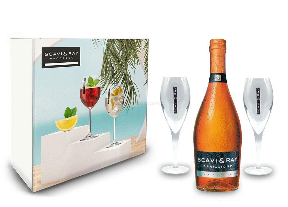 Scavi & Ray Giftbox Geschenkset - Scavi & Ray Sprizzione Aperitivo 0,75l (8% Vol) + 2x Flöten (10cl) -[Enthält Sulfite]