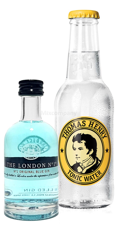 Gin Tonic Probierset - The London N1 Blue Gin 50ml (47% Vol)+ Thomas Henry Tonic Water 200ml inkl. Pfand MEHRWEG