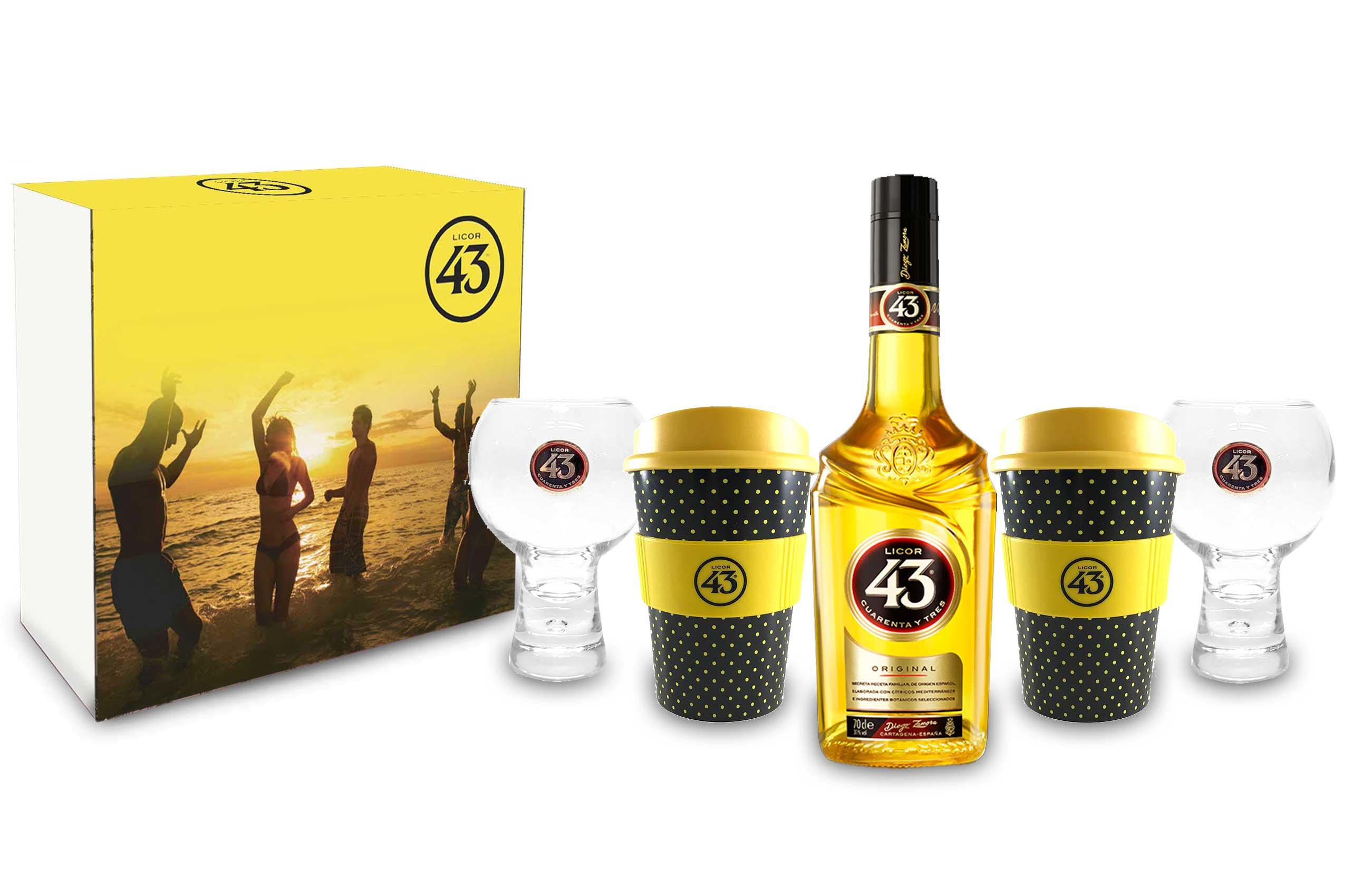 Licor 43 Schuber Geschenkset Cuarenta y Tres 0,7l (31% Vol) + 2x Ballon Tumbler Gläser +2 Likör Liquor 43 Kaffee Becher- [Enthält Sulfite]