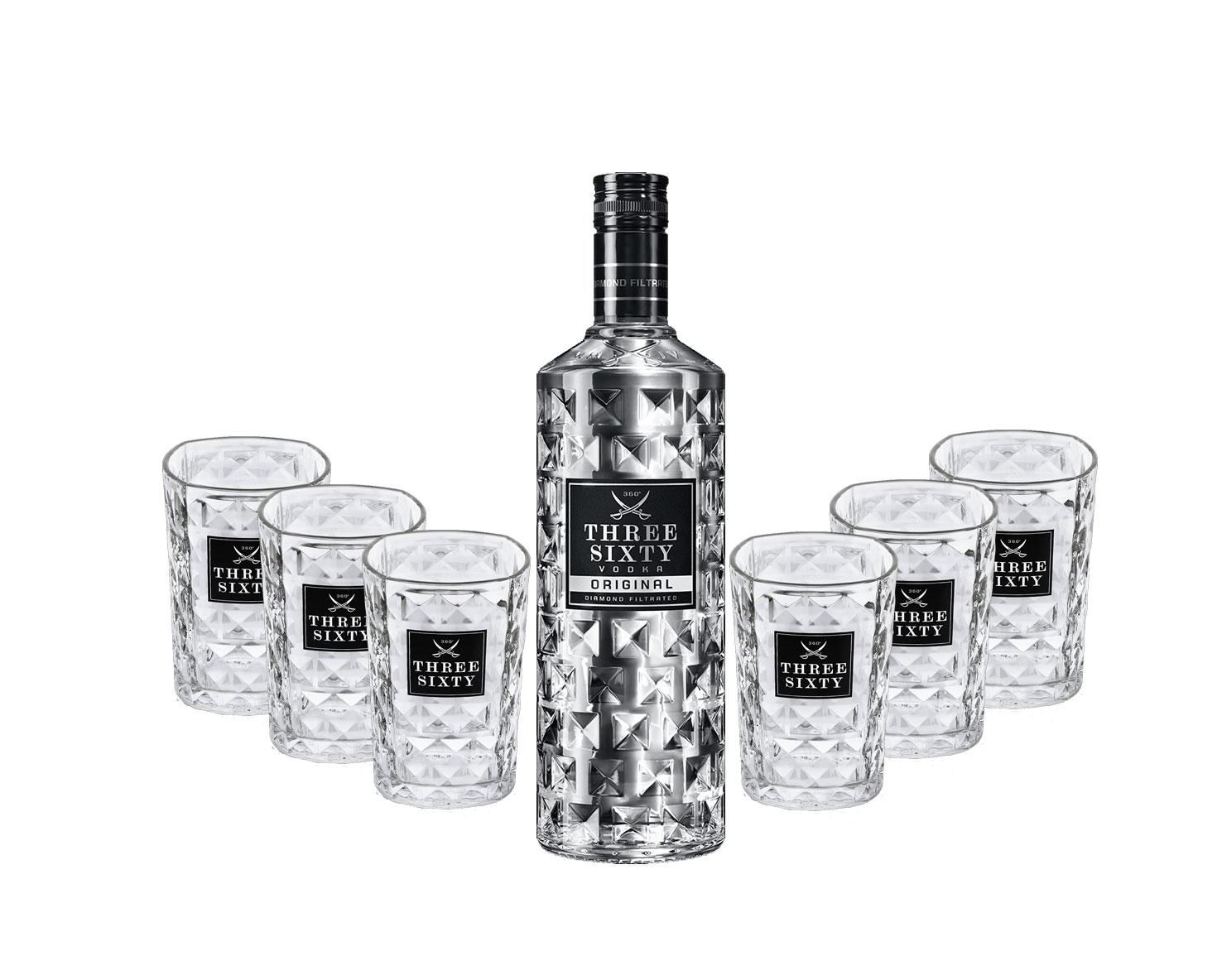 Three Sixty Set Geschenkset - Three Sixty Vodka Wodka 0,7L 700ml (37,5% Vol) + 6x Tumbler 0,2l 200ml Facettenschliff Glas- [Enthält Sulfite]
