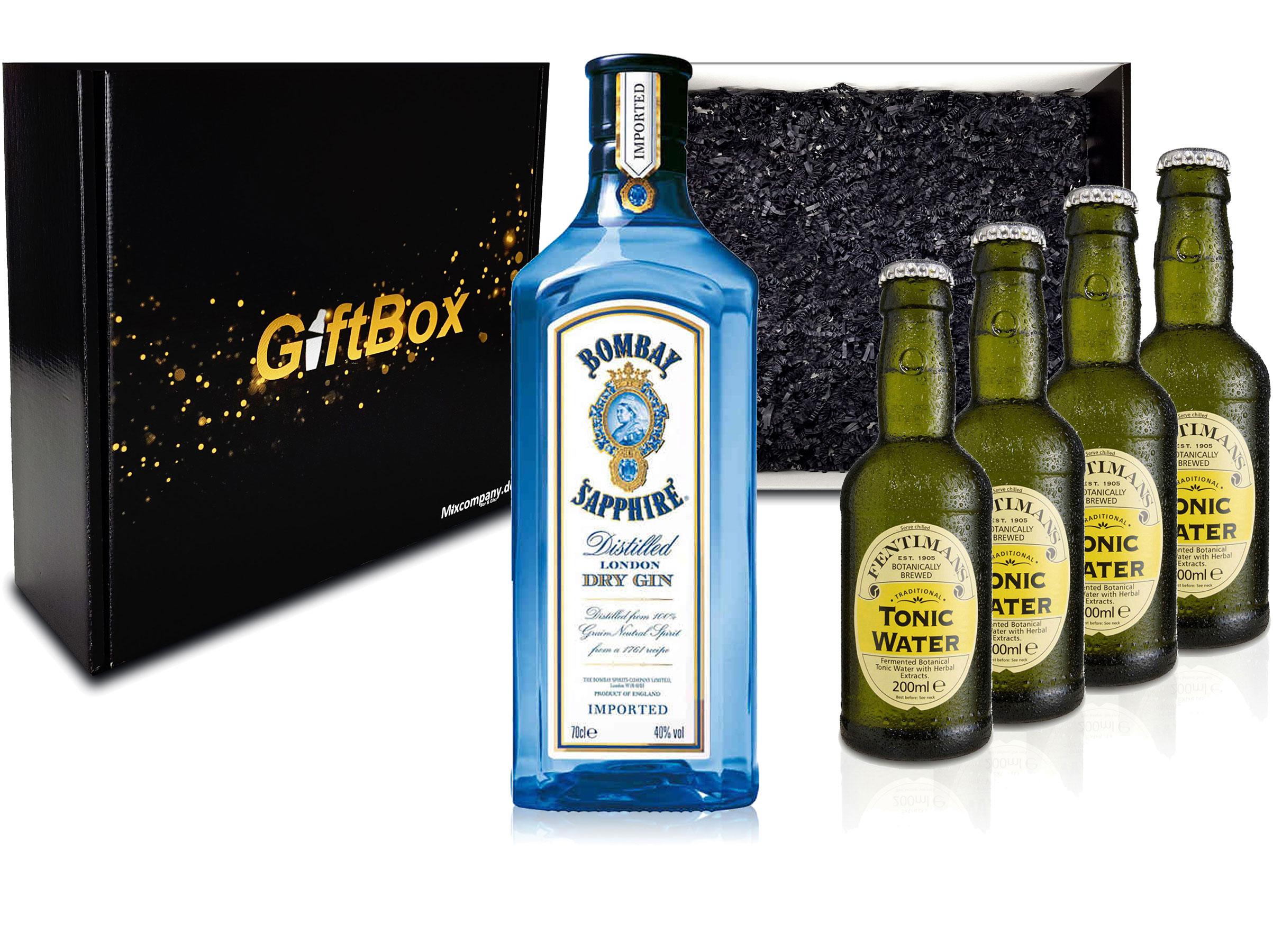 Gin Tonic Giftbox Geschenkset - Bombay Sapphire 0,7l 700ml (40% Vol) + 4x Fentimans Tonic Water 200ml inkl. Pfand MEHRWEG + Geschenkverpackung