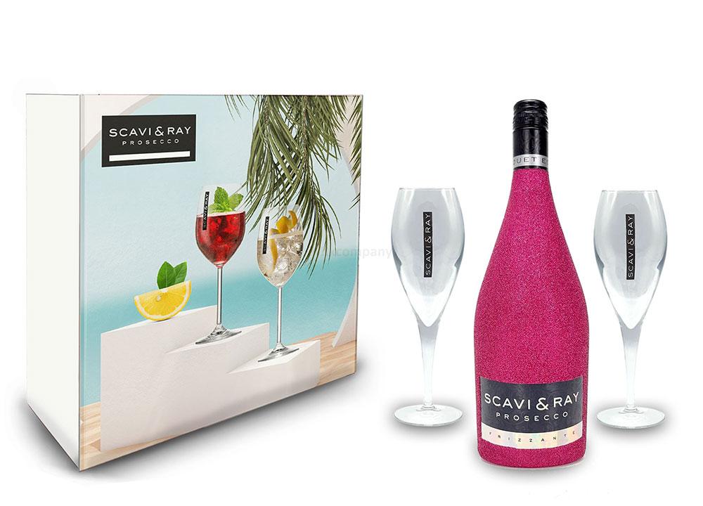 Scavi & Ray Bling Bling Hot Pink Glitzer Schuber Geschenkset - Scavi & Ray Prosecco Frizzante 0,75l (10% Vol) + 2x Prosecco Gläser -[Enthält Sulfite]