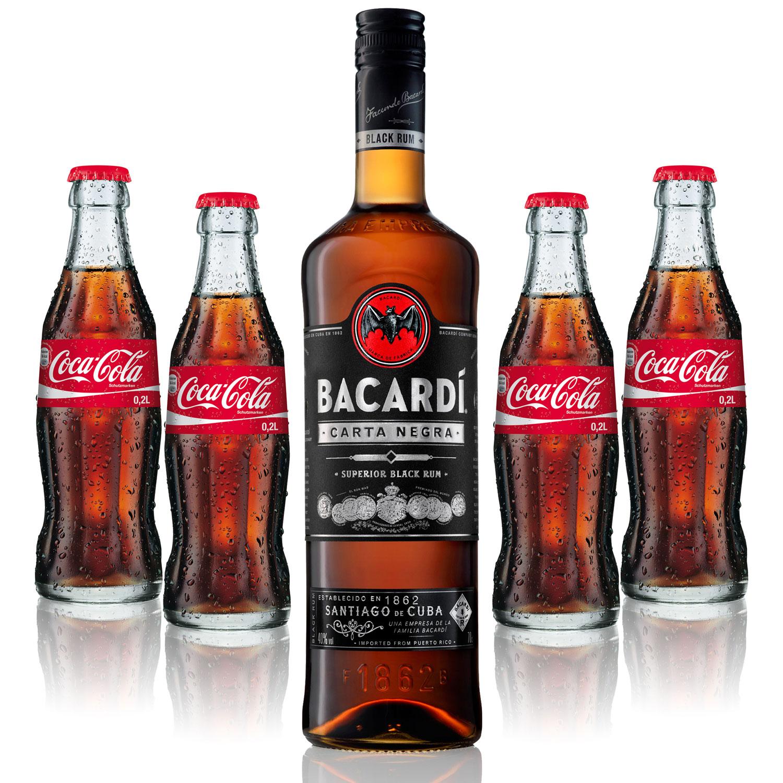 Cuba Libre Set - Bacardi Carta Negra Rum 1L (40% Vol) + 4x Coca Cola 0,2L - Inkl. Pfand MEHRWEG