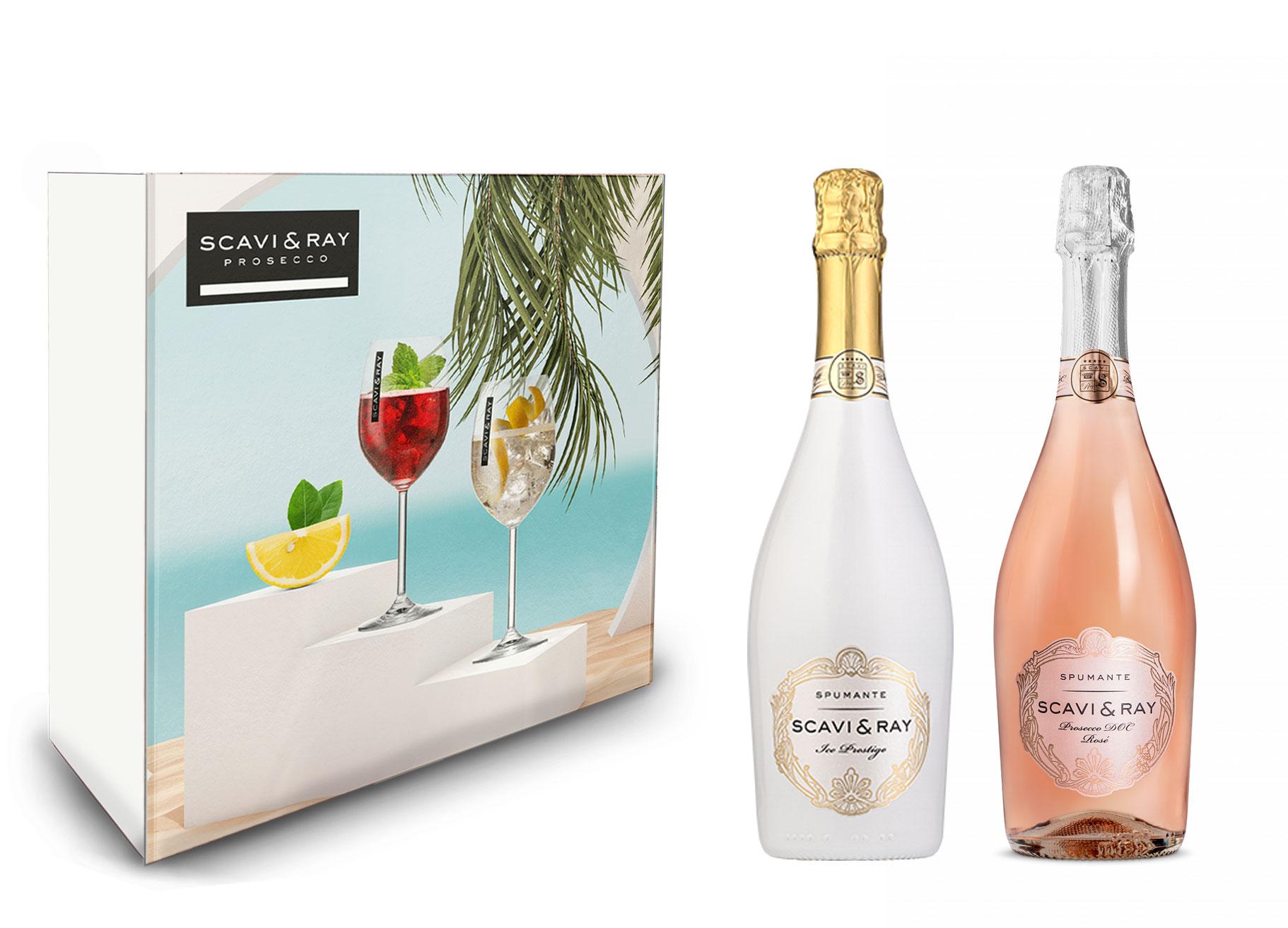 Scavi & Ray Geschenkset Scavi Ray ICE Prestige 0,75l (12% Vol) + Rosé Spumante DOC 0,75L (11% Vol)- [Enthält Sulfite]