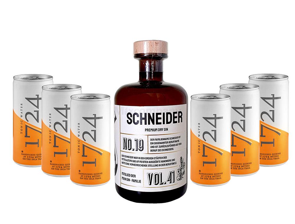 Mein Gin - Schneider Premium Dry Gin 0,5l (41% Vol) - Schneider s Gin No.19 + 6x 1724 Tonic Water Dose 200ml inkl. Pfand EINWEG -[Enthält Sulfite]