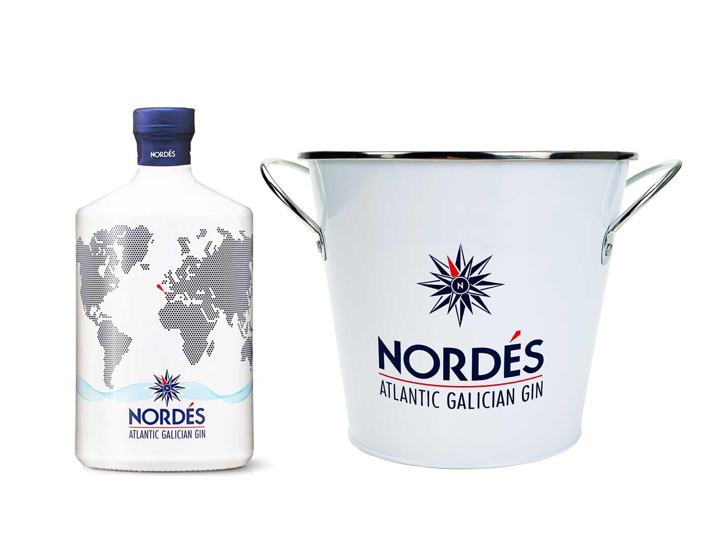 Gin Set - mit Nordes Atlantic Galician Gin aus Galizien 0,7l (40% Vol) - [Enthält Sulfite] Flaschenkühler - ca. 16x14,5cm