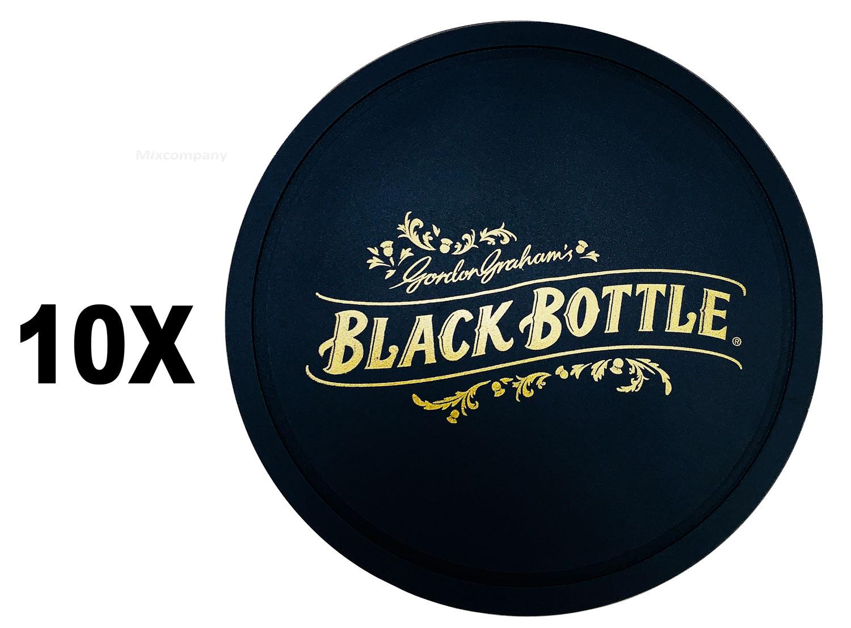 Black Bottle Whisky Whiskey Untersetzer Bierdeckel aus Gummi Set - 10x Stück