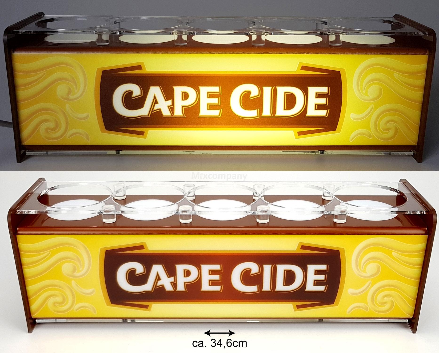 Cape Cide Glas Ständer Halter Bier Bitburger beleuchtet