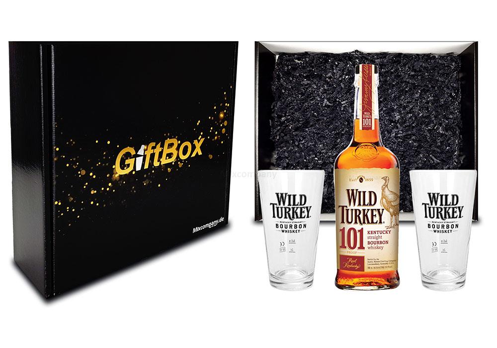 Wild Turkey Geschenkset - Wild Turkey 101 Kentucky Straight Bourbon Whiskey 0,7l 700ml (50,5% Vol) + 2x Longdrink Glas / Gläser 2 + 4cl geeicht in Giftbox -[Enthält Sulfite]