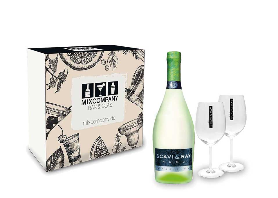 Scavi & Ray Geschenkset - Scavi & Ray Hugo Aperitivo 0,75l (6% Vol) + 2x Ballon Gläser (20cl) -[Enthält Sulfite]