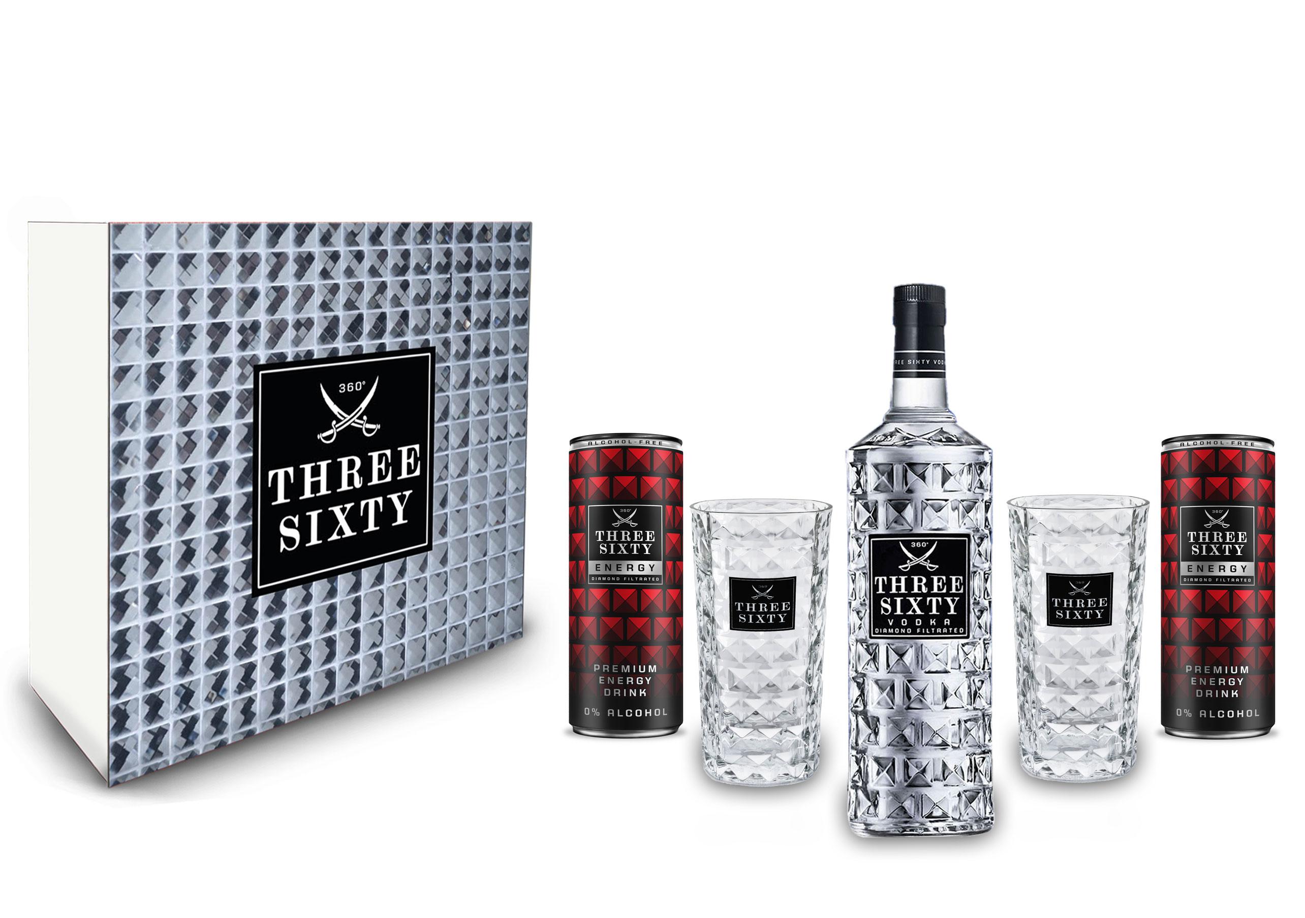 Three Sixty Geschenkset - Three Sixty Vodka 0,7L (37,5% Vol) + 2x Energy Drink 250ml inkl. Pfand EINWEG + 2x Gläser eckig Longdrink Glas 300ml Fassung Kristall Glas - [Enthält Sulfite]