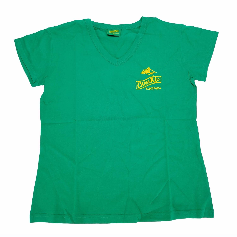 Canario Cachaca T-Shirt V-Kragen grün - Größe L (100 Baumwolle)