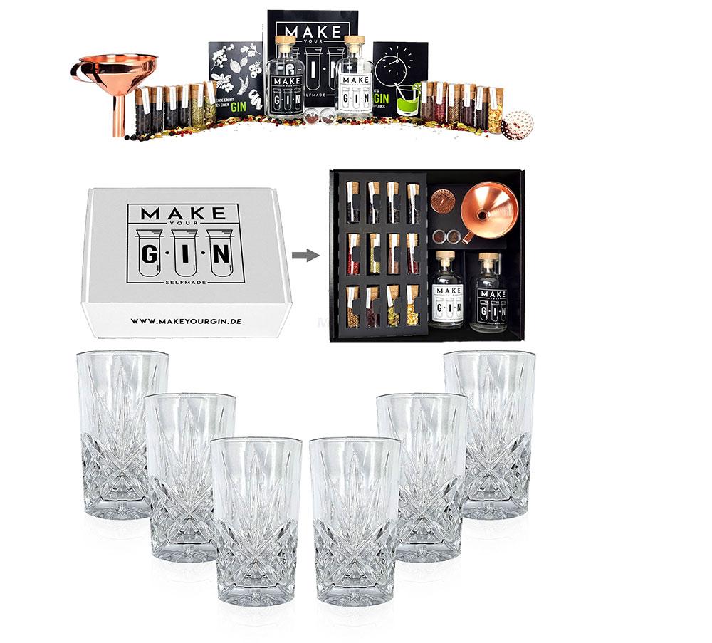 Longdrinkglas in Kristall Optik - 6er Set Gläser + Make Your Gin Geschenkset weiß Geschenkbox Gin zum Selbermachen - 11 Botanicals + Bar Trichter + Anleitung mit Rezept