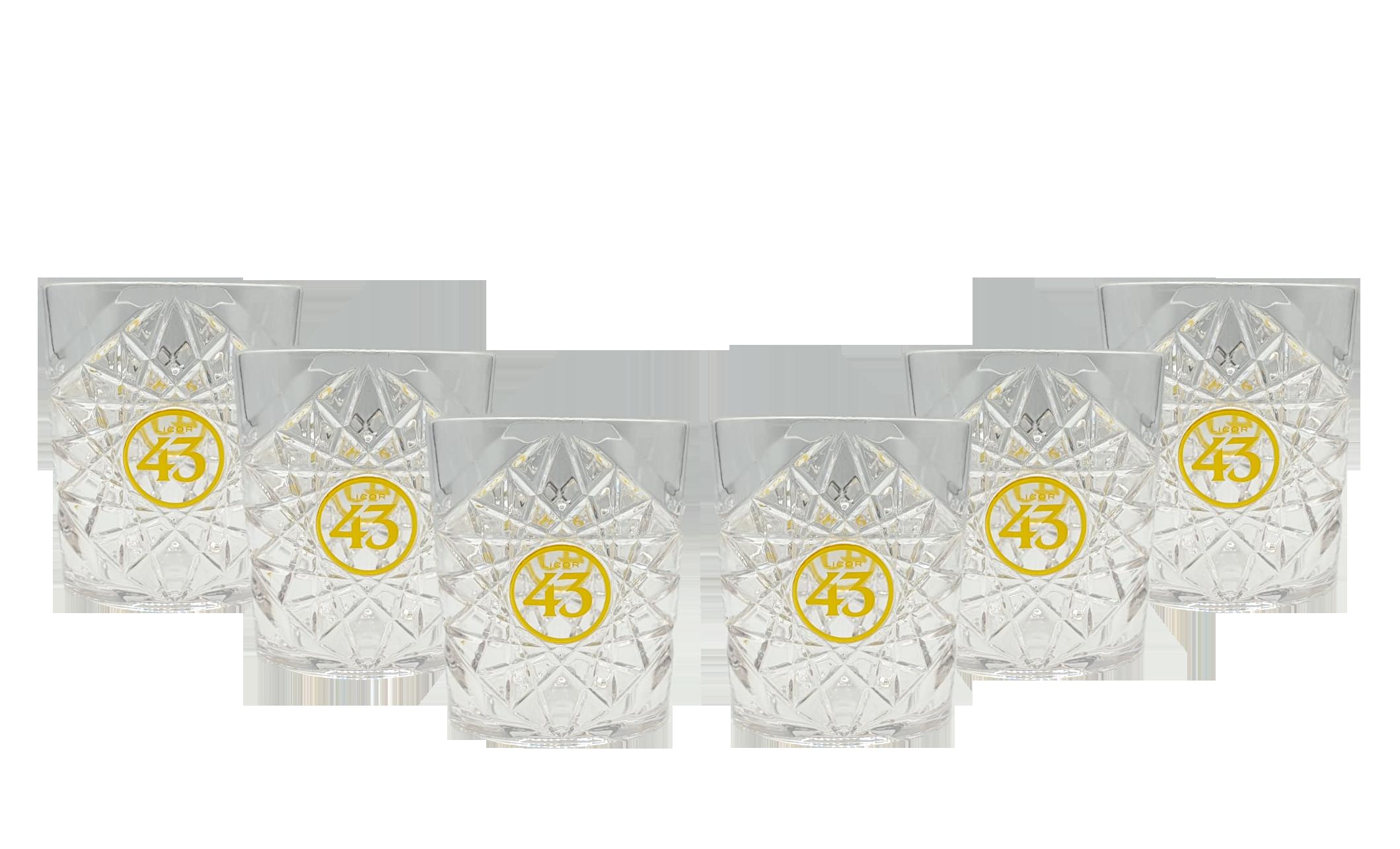 Licor 43 Tumbler 6er Set Gläser aus Acryl Kristallmuster mit Logo Likör Liquor 43er