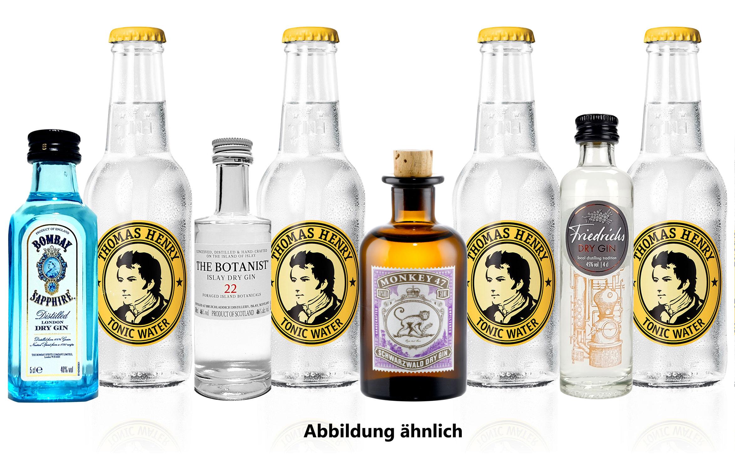 Gin Tonic mini 4er Set - Bombay Sapphire London Dry Gin 50ml (40% Vol) + Monkey 47 Schwarzwald Dry Gin 50ml (47% Vol) + The Botanist Islay Dry Gin 50ml (46% Vol) + Friedrichs Dry Gin 4cl (45% Vol) - Inkl. Pfand MEHRWEG