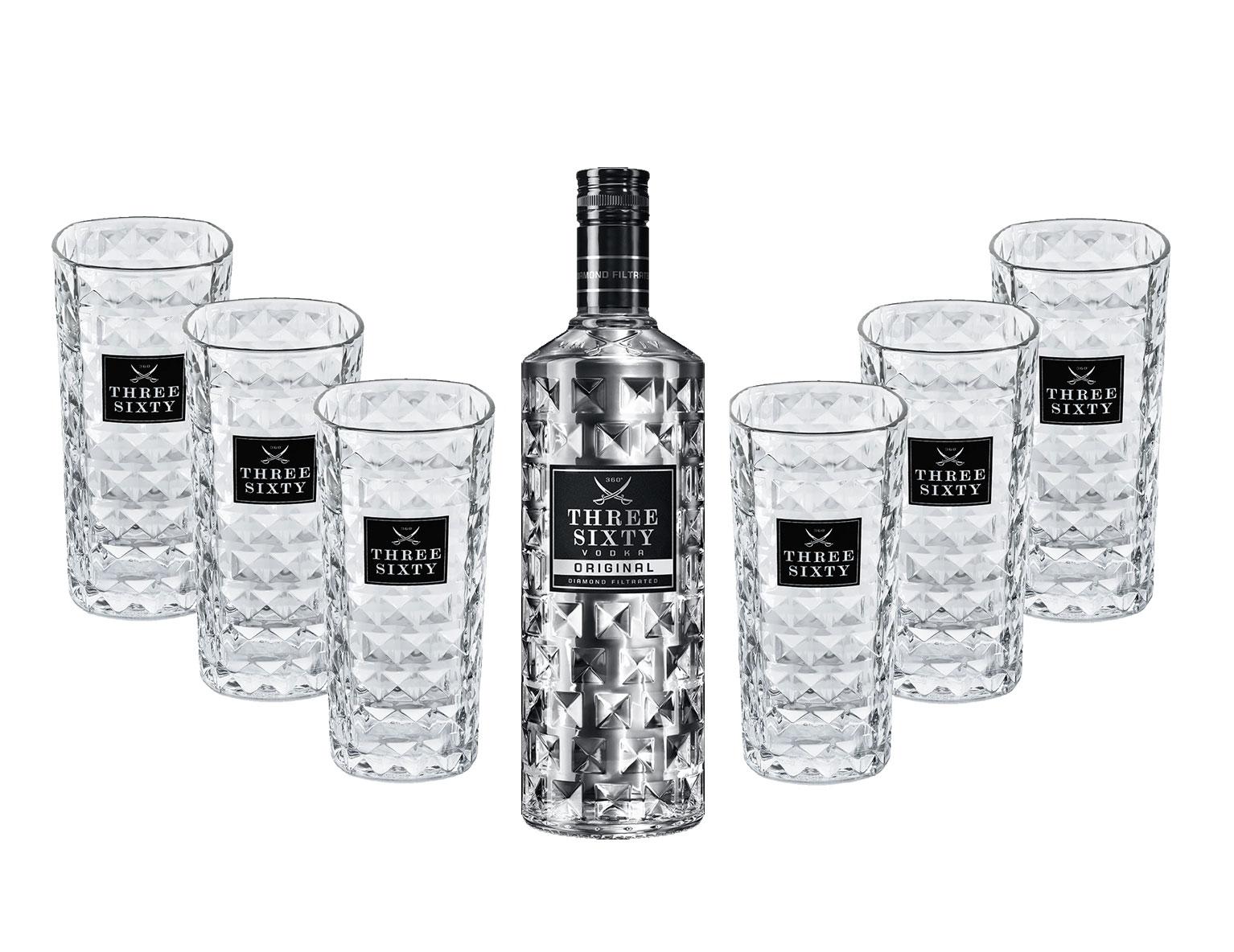 Three Sixty Vodka 3L (37,5% Vol) + 6 Three Sixty Longdrink Gläsern [Enthält Sulfite]