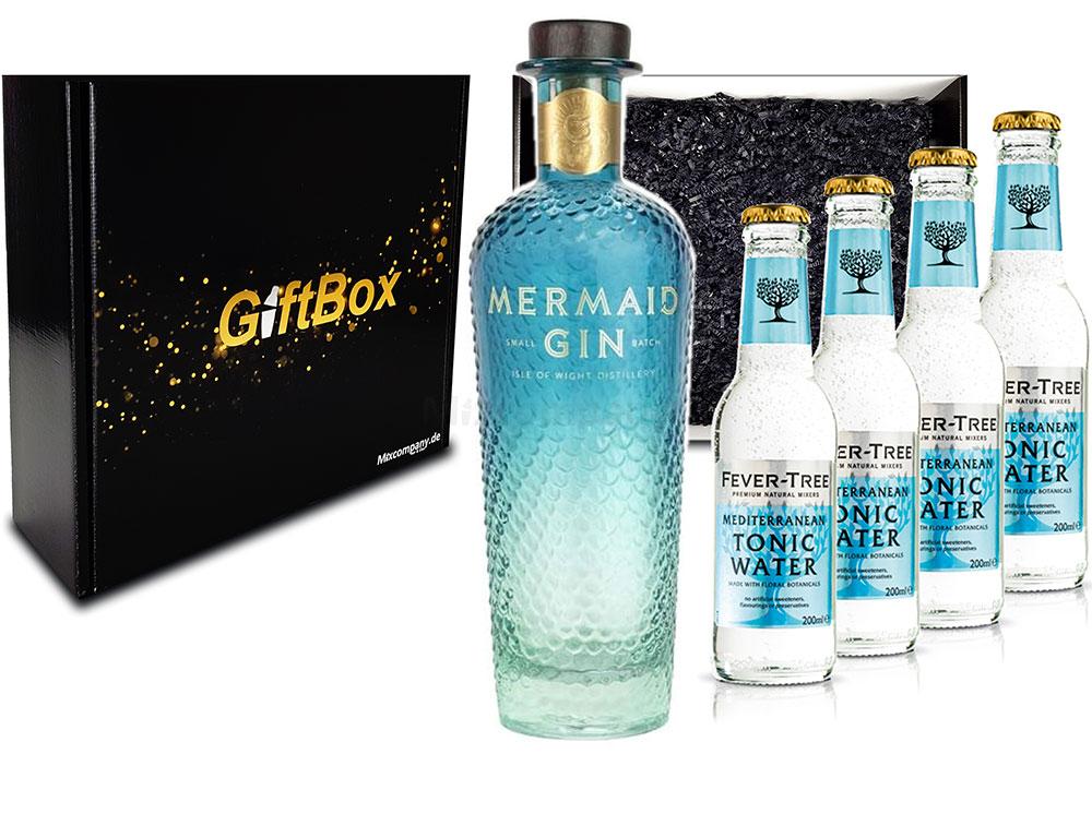 Mixcompany Gin Tonic Giftbox Geschenkset - Mermaid Gin 0,7L 700ml (42% Vol) + 4x Fever-Tree Mediterranean Tonic Water 0,2 MEHRWEG inkl. Pfand Gin Tonic Bar- [Enthält Sulfite]