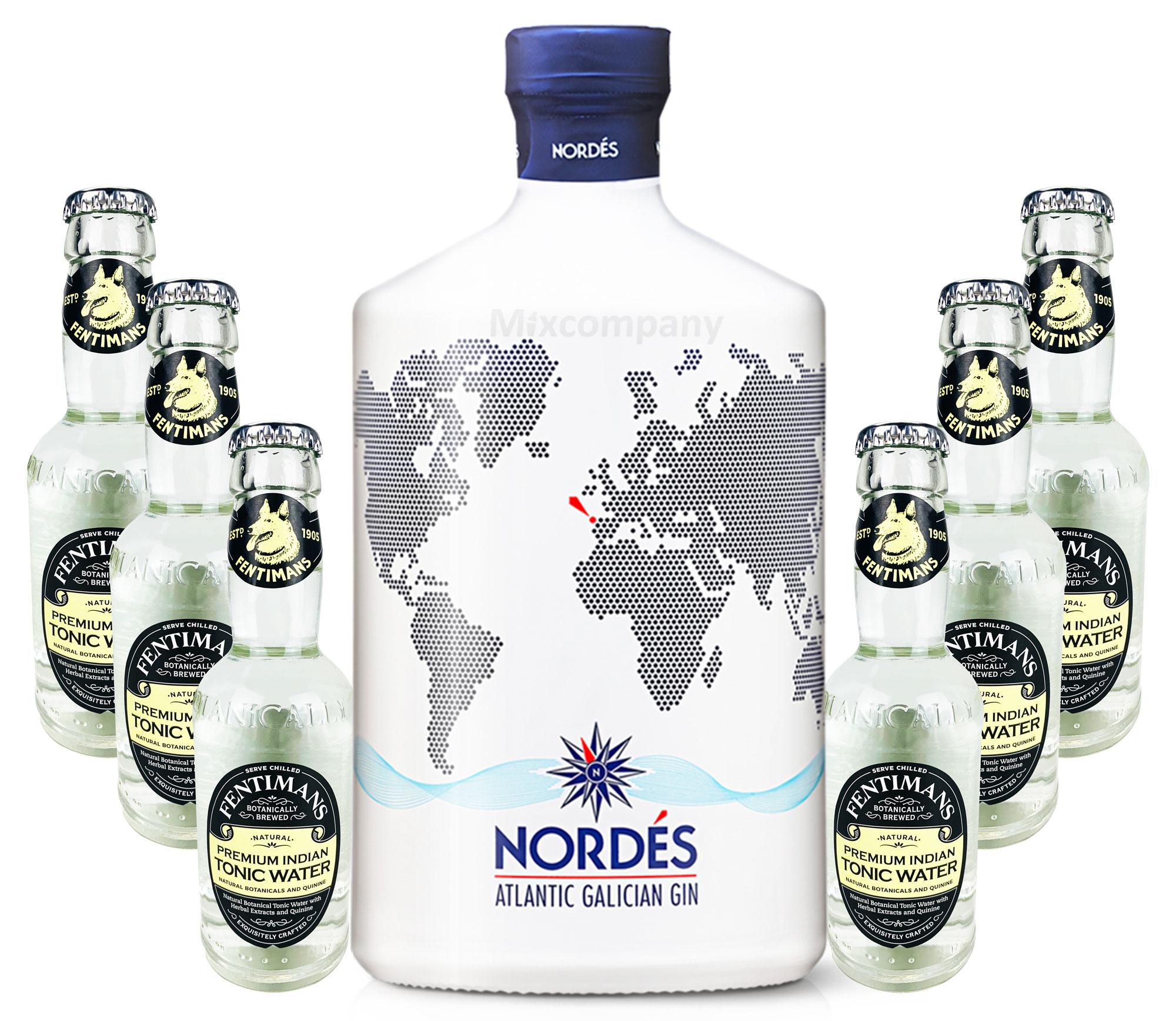 Nordes Atlantic Galician Gin aus Galizien 0,7l (40% Vol) + 6 x Fentimans Premium Indian Tonic Water 0,2l MEHRWEG inkl. Pfand- [Enthält Sulfite]