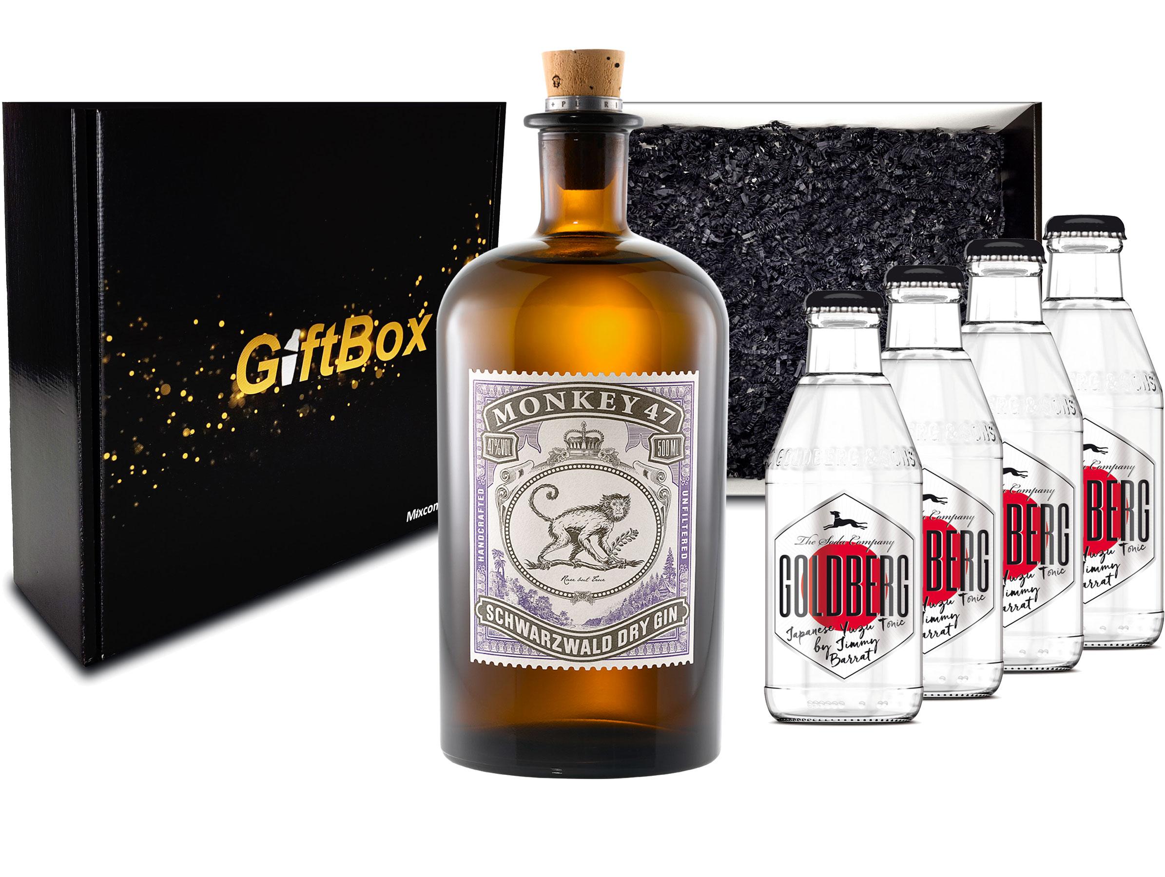 Gin Tonic Set Giftbox Geschenkset - Monkey 47 Schwarzwald Dry Gin 0,5l (47% Vol) + 4x Goldberg Japanese Yuzu Tonic Water 200ml inkl. Pfand MEHRWEG -[Enthält Sulfite]