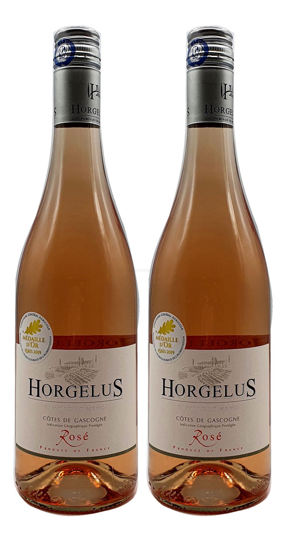 Rose Wein Set - 2x Horgelus Côtes de Gascogne Rosé 750ml (11,5% Vol)- [Enthält Sulfite]