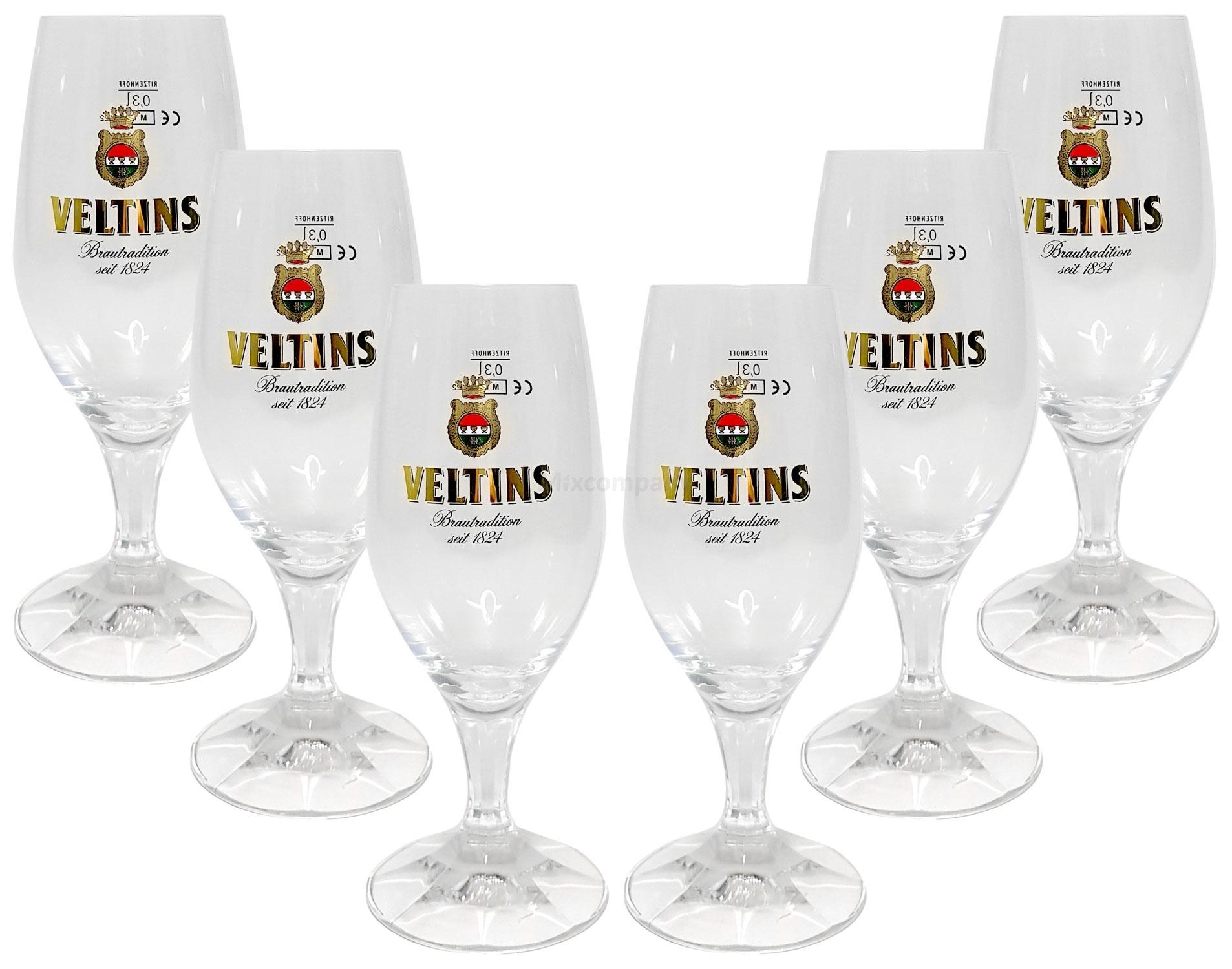 Veltins Glas Bierglas Tulpen 4x Biergläser 0,2l geeicht, Brasil Flaggemuster