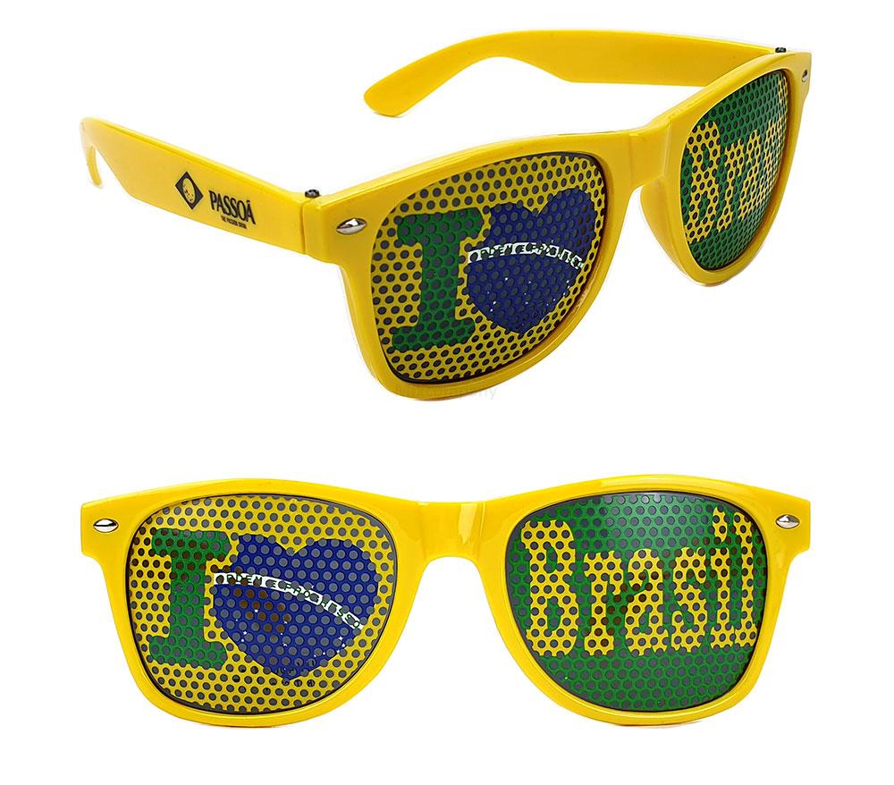 PASSOA I Love Brasil Brille - WM / EM Zubehör / Fanartikel - Sonnenbrille / Partybrille Gelb - Brasil / Brasilien