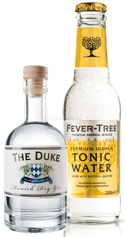 Gin Tonic Probierset - The Duke Munich Dry Gin 50ml (45% Vol) + Fever-Tree Tonic Water 200ml inkl. Pfand MEHRWEG