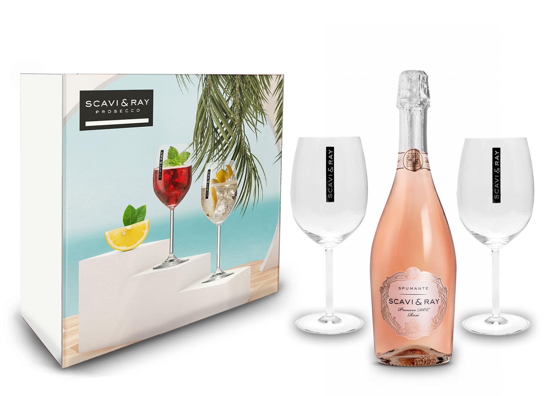 Scavi & Ray Geschenkset Scavi Ray Rosé Spumante DOC 0,75L (11% Vol) + 2 Wein Gläser Ballonglas- [Enthält Sulfite]