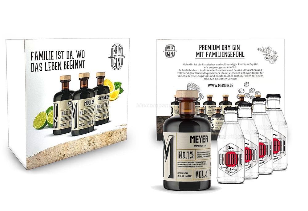 Mein Gin + Tonic Giftbox Geschenkset - Meyer Premium Dry Gin 0,5l (41% Vol) - Meyer s Gin No.13 + 4x Goldberg Japanese Yuzu Tonic Water 200ml inkl. Pfand MEHRWEG -[Enthält Sulfite]