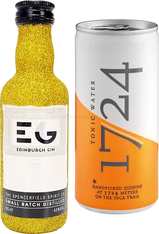 Gin Tonic Bling Bling Mini Probierset - Edinburgh Gin 50ml (43% Vol) Glitzerflasche Gold + 1724 Tonic Water 200ml inkl. Pfand EINWEG -[Enthält Sulfite]