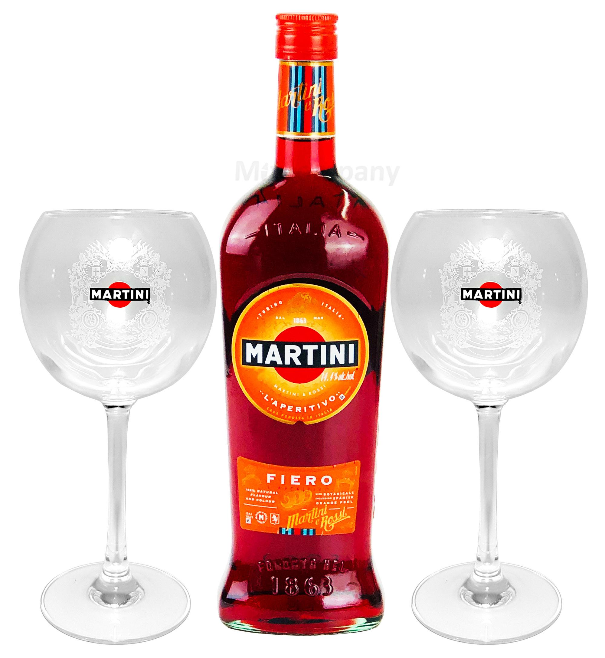 Martini Fiero Wermut 1L (14,4% Vol) + Martini Royale Ballon Cocktail Glas Set - 2x Gläser 47cl - [Enthält Sulfite]