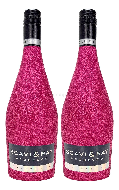 Scavi & Ray Prosecco Frizzante 2 Stück 0,75l (10,5% Vol) - Bling Bling Glitzer Flaschenveredelung für besondere Anlässe - Hot Pink Aktion - 2 Stück (2x 0,75l = 1,5l) -[Enthält Sulfite]