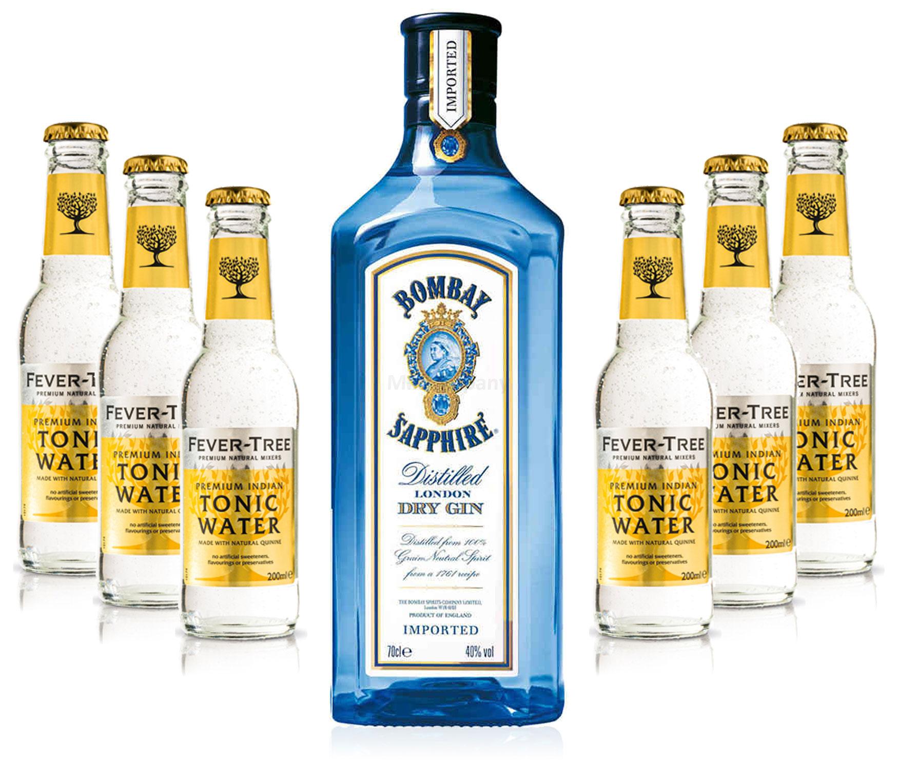 Gin Tonic Set - Bombay Sapphire 0,7l 700ml (40% Vol) + 6x Fever Tree Tonic Water 200ml - Inkl. Pfand MEHRWEG
