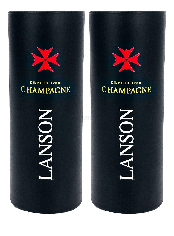 Lanson Reims Champagner Glas Gläser Set - 2x Gläser in schwarz 0,1l geeicht