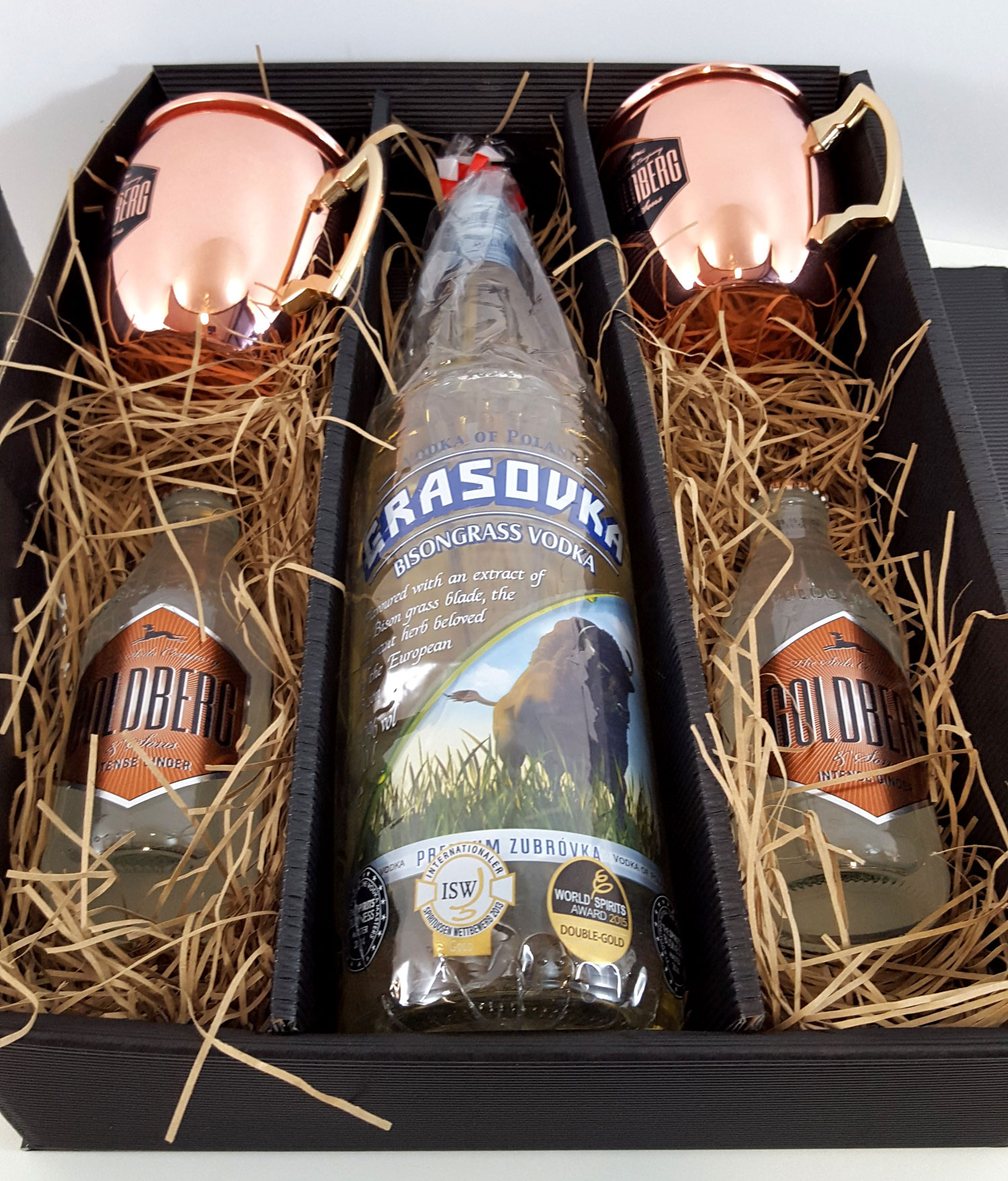 Moscow Mule Set / Geschenkset - Grasovka Büffelgras Vodka 1L (38% Vol) + 2x Goldberg Kupferbecher + 2x Goldberg Intense Ginger 200ml - Inkl. Pfand MEHRWEG