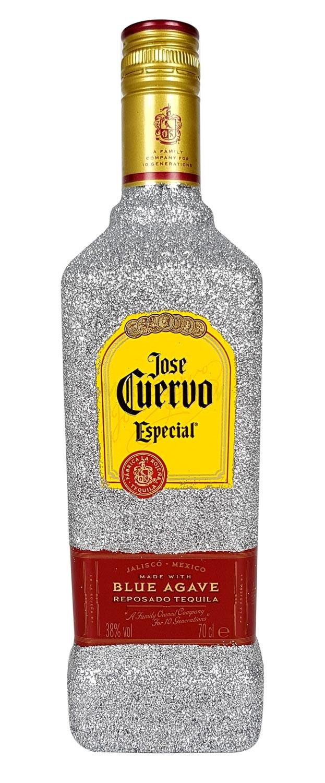 Jose Cuervo Tequila Reposado Especial 0,7l 700ml (38% Vol) Bling Bling Glitzerflasche in silber -[Enthält Sulfite]