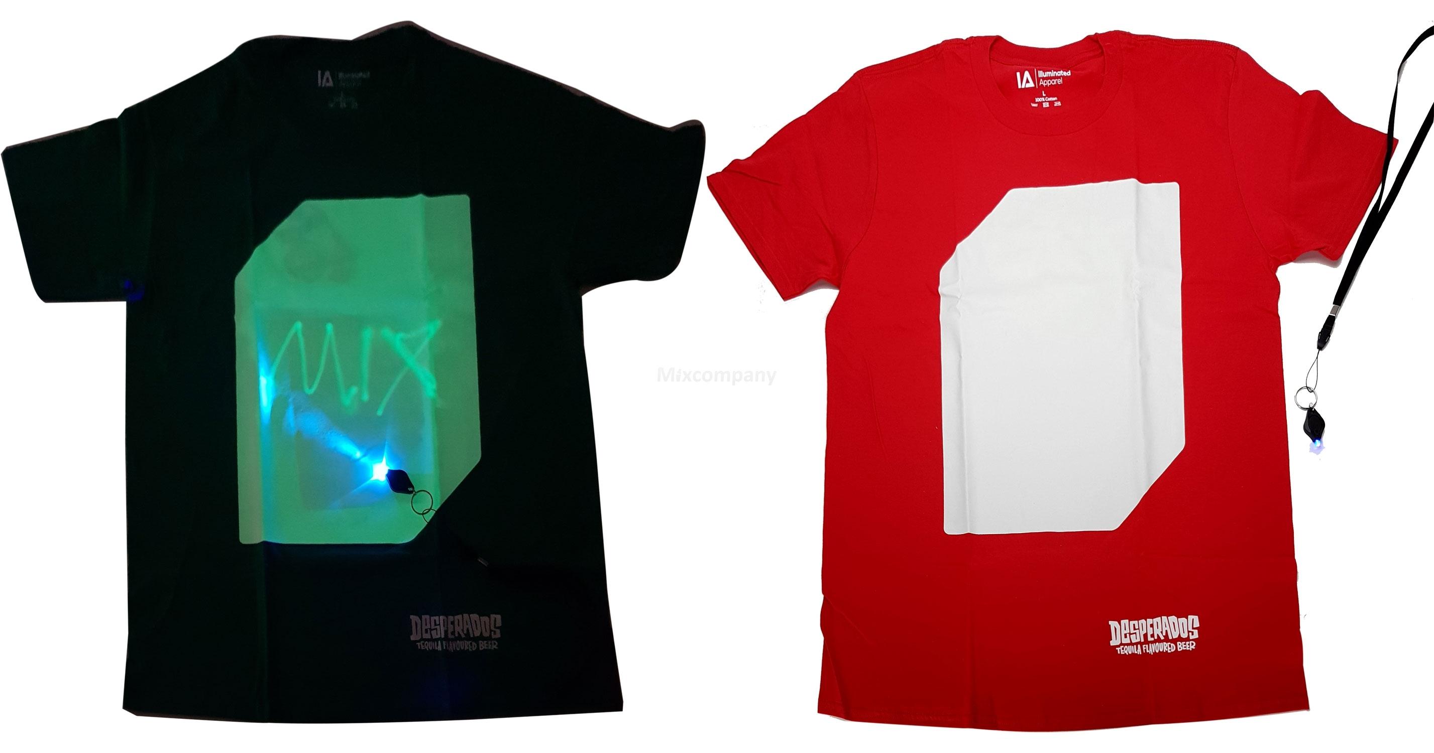 Desperados T-Shirt beleuchtet mit UV Licht - rot - 100 Prozent Baumwolle - Größe L