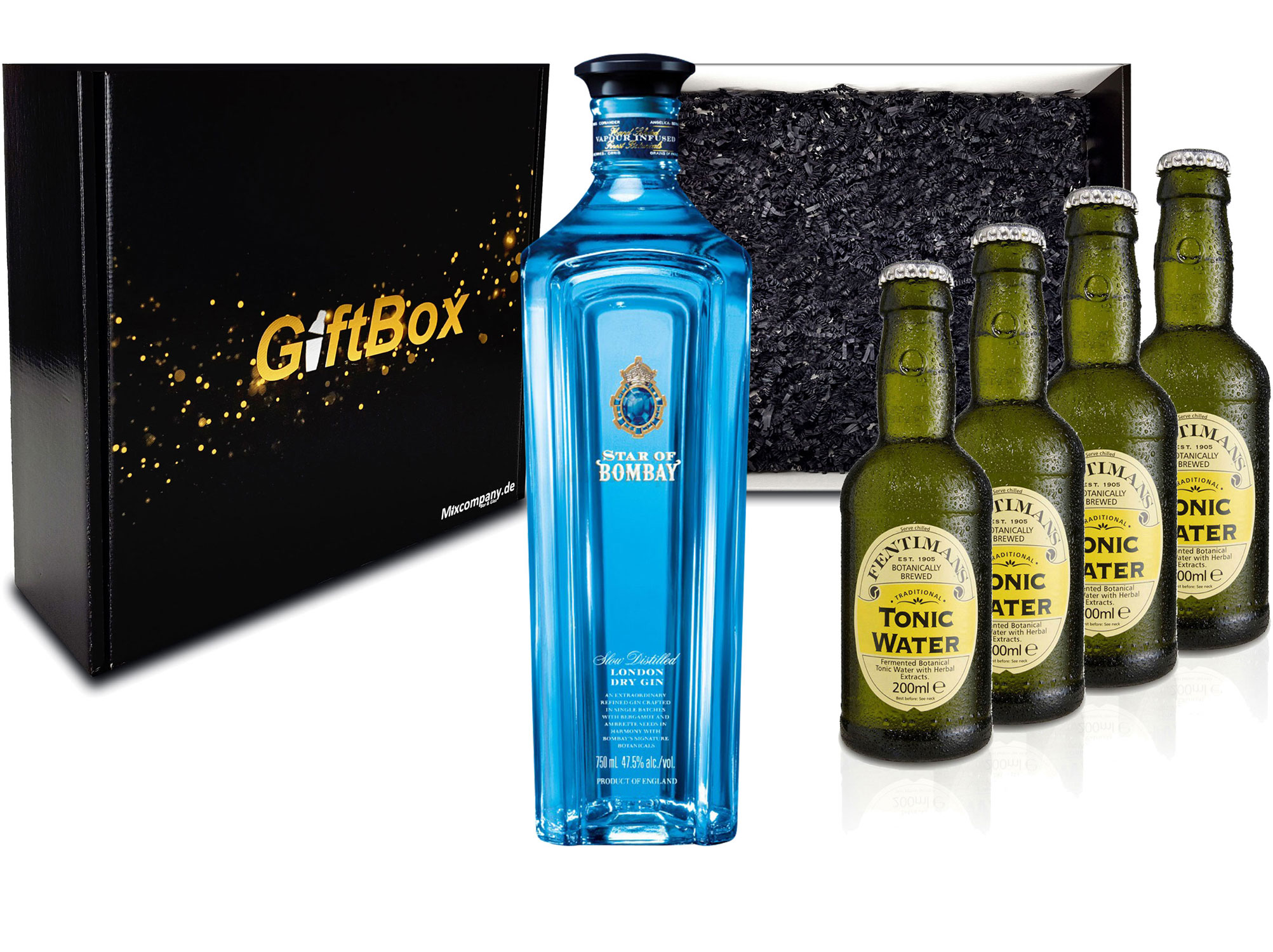 Gin Tonic Giftbox Geschenkset - Star of Bombay Slow Distilled London Dry Gin 0,7l (47,5% Vol) + 4x Fentimans Tonic Water 200ml inkl. Pfand MEHRWEG - [Enthält Sulfite]