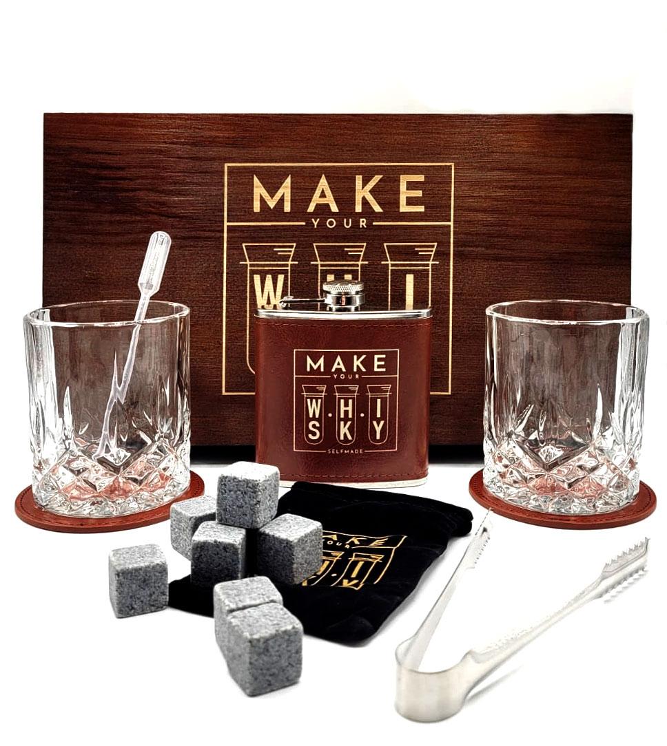 Make your Whisky Set Geschenkset in Holzbox mit 2x Tumbler + 2x Untersetzer + Flachmann + Zange + Pipette + 8x Eiswürfel Stein in Stoffbeutel