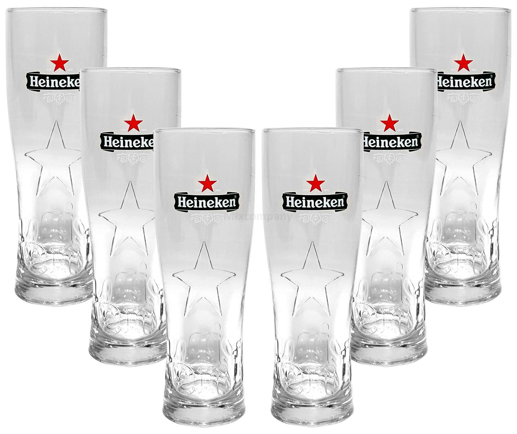 Heineken Bier 0,25 Glas Gläser Set - 6x Gläser 0,25 GEEICHT Bierglas Ellipse