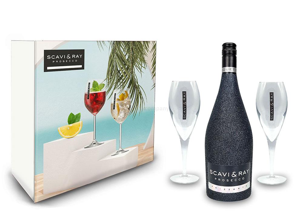 Scavi & Ray Bling Bling Schwarz Glitzer Giftbox Geschenkset - Scavi & Ray Prosecco Frizzante 0,75l (10% Vol) + 2x Prosecco Gläser -[Enthält Sulfite]