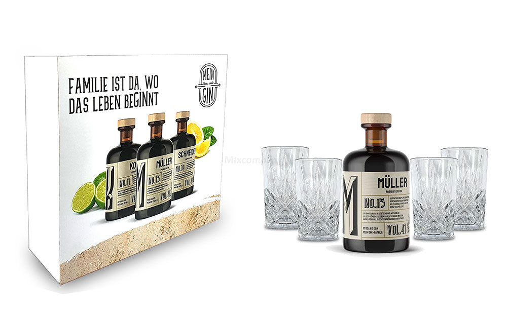 Mixcompany Geschenkset - Mein Gin / Gin Tonic Set - Müller No 13 Gin 0,5L (41% Vol) + 4x Longdrink Glas in Kristall Optik - [Enthält Sulfite]