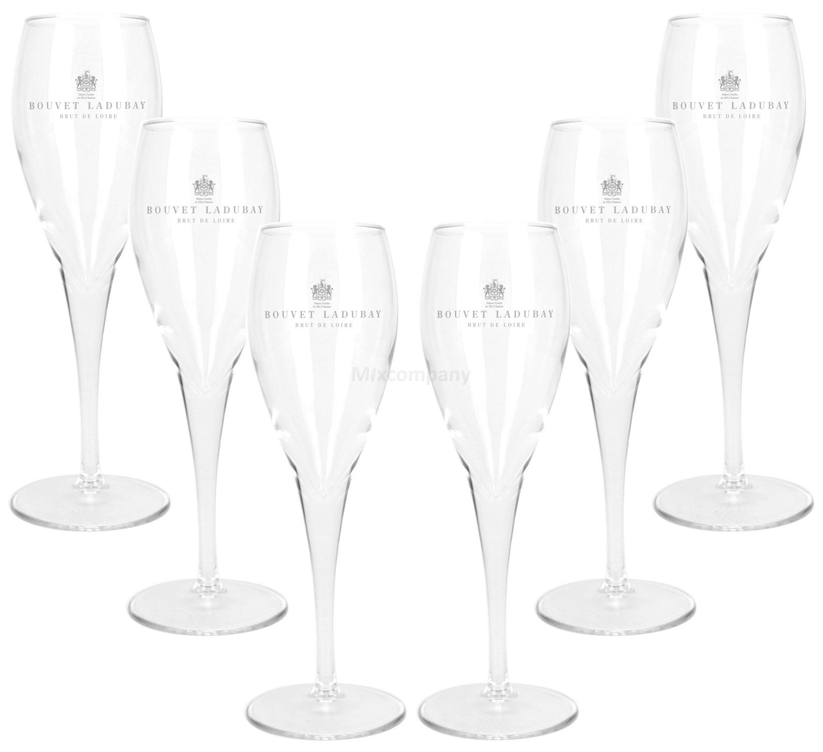 Bouvet Ladubay Champagner Prosecco Glas Gläser Set - 6x Gläser 0,1l geeicht