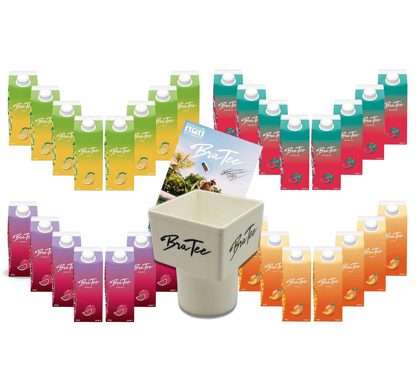 Capital BraTee 32er Tasting Set 8 pro Geschmackssorte Eistee je 750ml + Gratis Getränkehalter + Autogrammkarte BRATEE Ice tea 8x Wassermelone 8x Zitrone 8x Pfirsich 8x Granatapfel - mit Capi-Qualitäts-Siegel