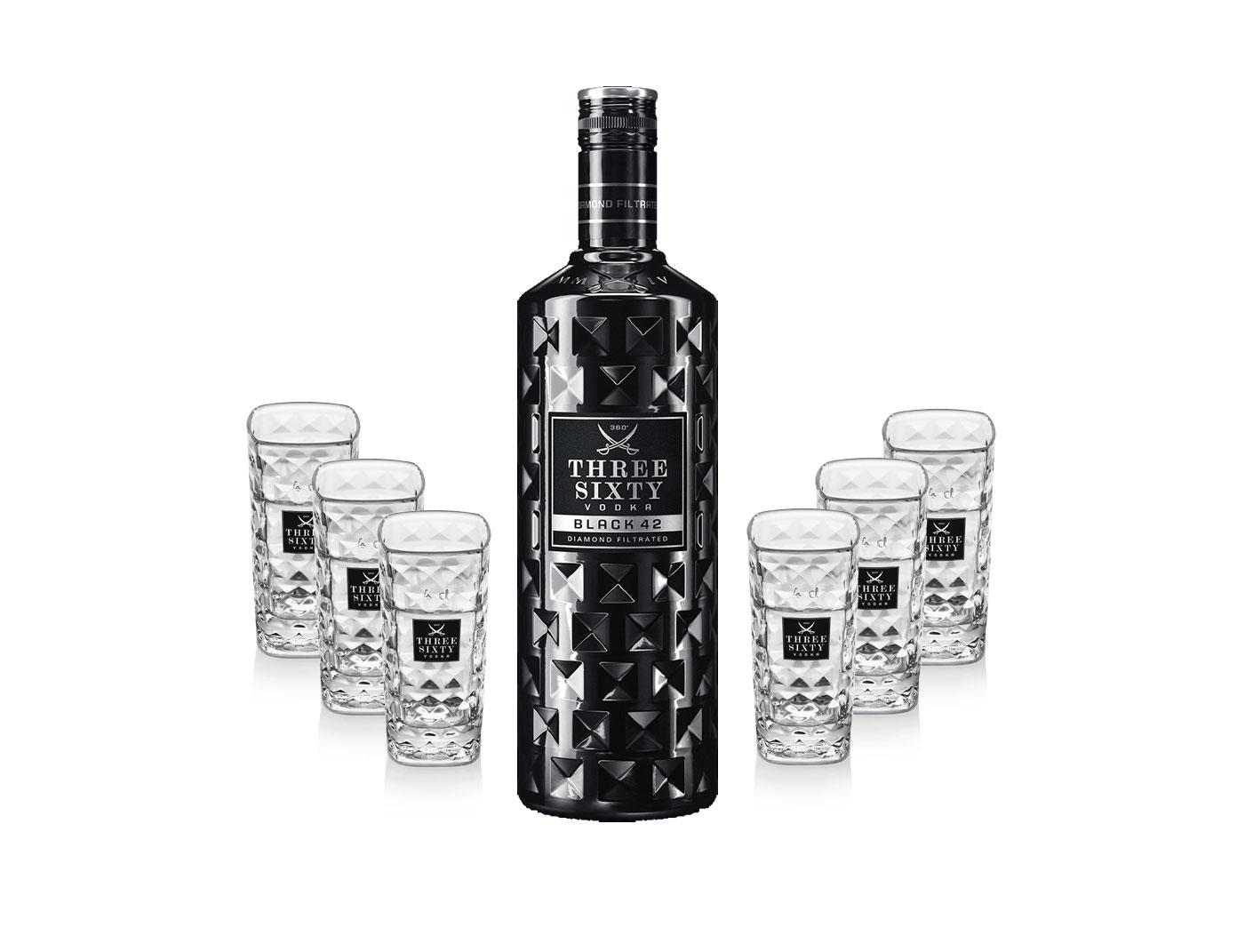 Three Sixty Set Geschenkset - Three Sixty Black Vodka Wodka 0,7L 700ml (42% Vol) + 6x Shotgläser Glas 2 und 4cl geeicht- [Enthält Sulfite]