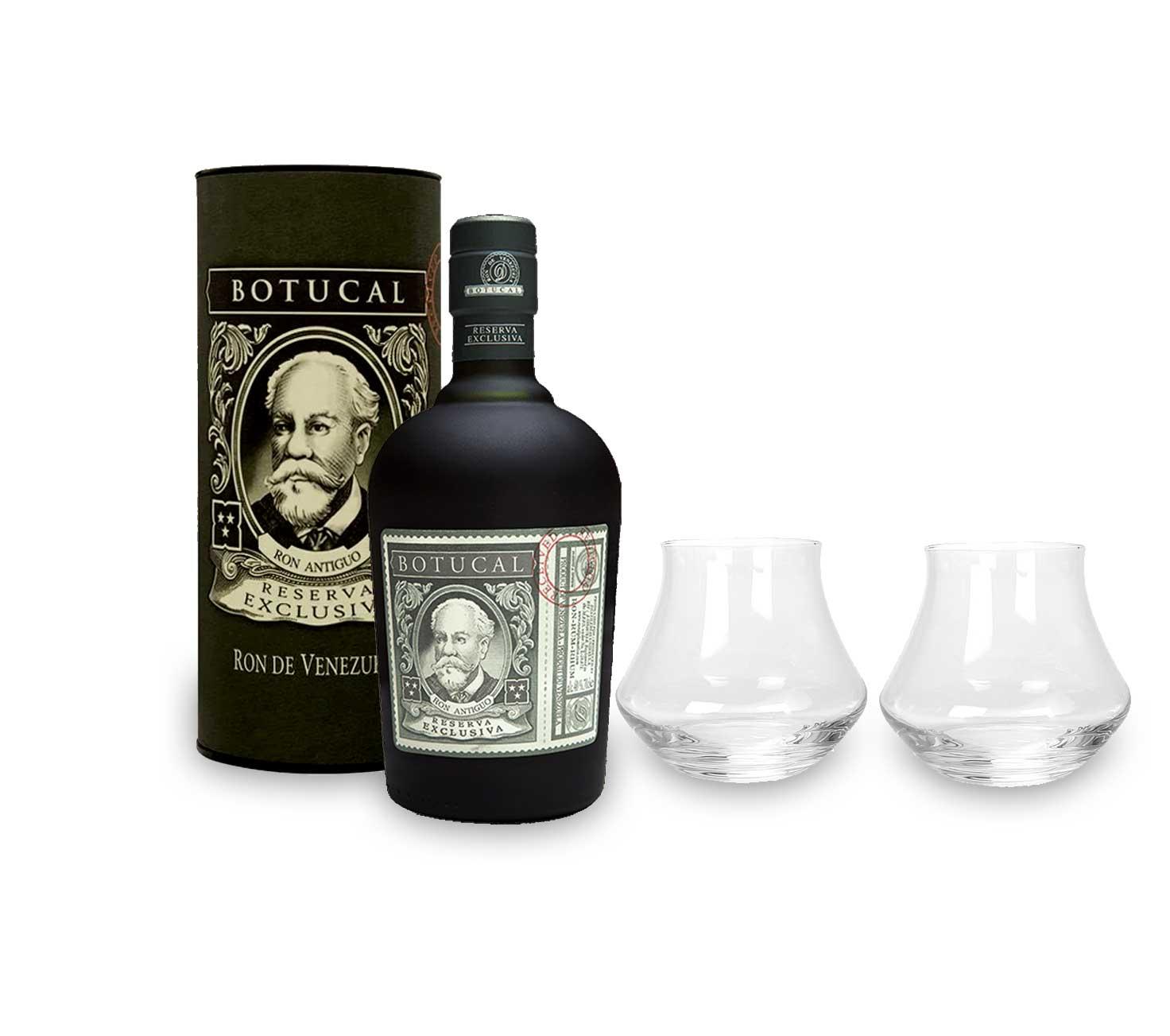 Botucal Reserva Exclusiva Rum mit Geschenkverpackung 2 Botucal Tumbler Gläser mit 0,70l (40% Vol) Ron de Venezuela Glas Longdrinkglas - Set - [Enthält Sulfite]