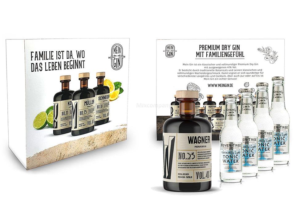 Mein Gin + Tonic Giftbox Geschenkset - Wagner Premium Dry Gin 0,5l (41% Vol) - Wagner s Gin No.25 + 4x Fever-Tree Naturally Light Tonic Water 200ml inkl. Pfand MEHRWEG -[Enthält Sulfite]