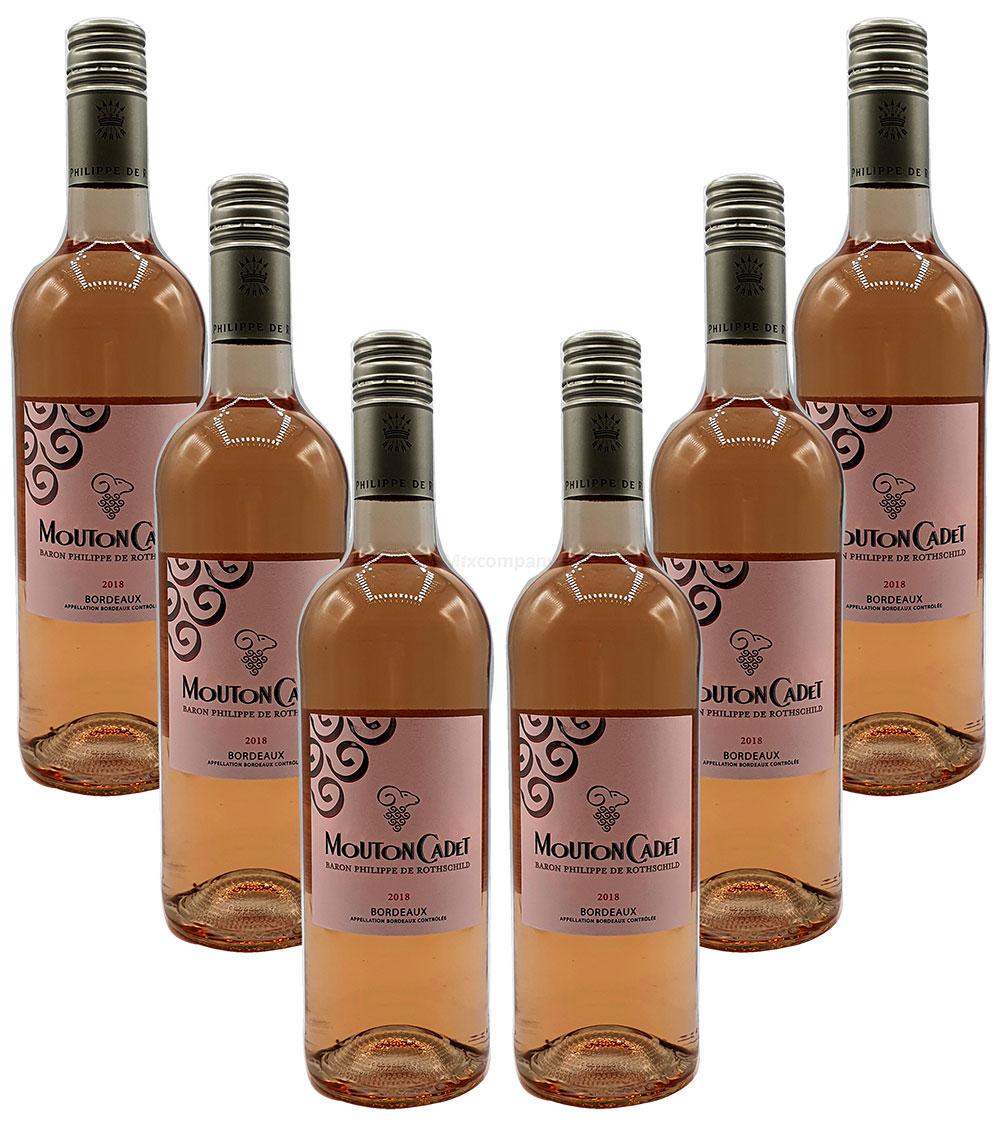 Rose Wein Set - 6x Mouton Cadet Bordeaux / Baron Philippe De Rothschild 750ml (12% Vol)- [Enthält Sulfite]
